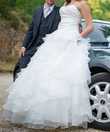 Robe bustier taille 38 / 40 avec traine amovible - Occasion du Mariage