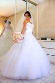 Robe de mariée de créateur blanche avec voile et jupon - Occasion du Mariage