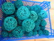46 boules rotin bleu turquoise - Occasion du Mariage