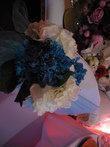 Bouquets fleurs turquoise blanc avec ruban - Occasion du Mariage