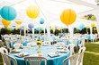 lot de lanternes colorées jaune, turquoise, bleu d\'eau - Occasion du Mariage
