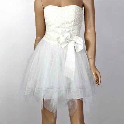Robe de mariée courte bustier en tulle doccasion et bustier avec ...
