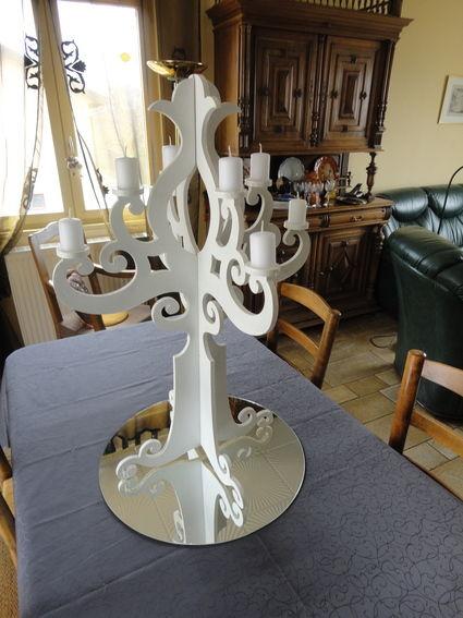 Lots de 2 chandeliers blancs Occasion du Mariage
