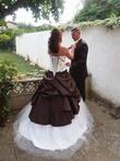 Robe de mariée bicolore modèle unique Chocolat/ivoire - Occasion du Mariage