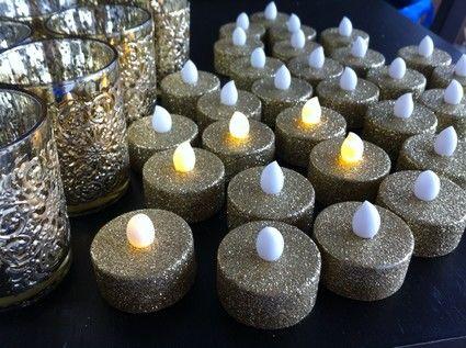 Bougeoires avec bougies led dor en d coration de table de - Decoration avec des bougies ...