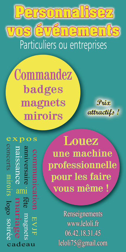 machine fabriquer des badges magnets miroirs paris. Black Bedroom Furniture Sets. Home Design Ideas