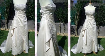 Robe de mariée pas cher écru longue traine 2012 - Occasion du mariage