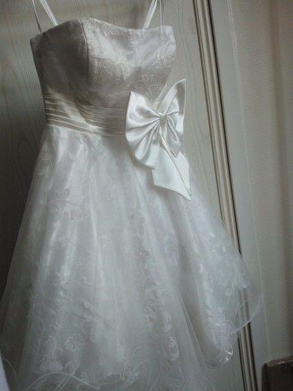 Robe de mariée courte style danseuse en dentelle et tulle - Occasion ...
