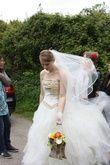 Robe de mariée bustier d'occasion couleur or et blanc T38
