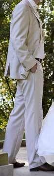 Costume marié beige avec rayures - Occasion du Mariage