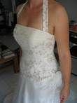 Robe de mariée bustier en organza et belle traîne d'occasion