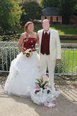 costume écru satiné - Occasion du Mariage