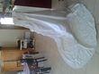 Robe de mariée ivoire bustier et traîne perlée + voile Miss Kelly