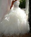 Robe de mariée dentelles et plumes - Occasion du Mariage