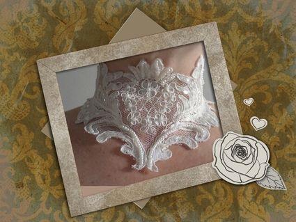 Bijoux de mariage dentelle, parure collier ras du coup  - Occasion du Mariage