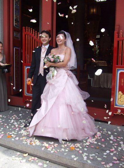 Superbe robe de mariée PRONUPTIA en tulle et soie sauvage rose pâle