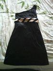 Robe de soirée noir/ceinture rose - Occasion du Mariage