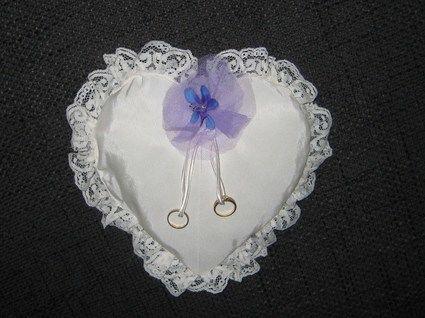 Porte alliances ivoire petite fleurs violette