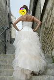 Robe de mariée de créateur Rosi Strella courte devant et longue derrière