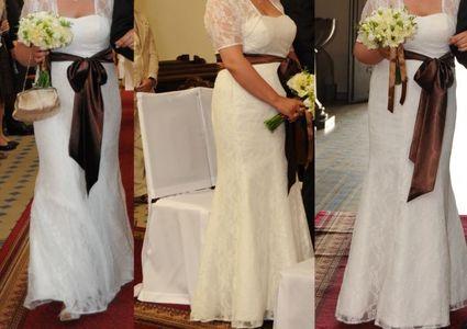 Robe mariée ivoire toute en dentelle d'occasion