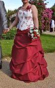 robe mariée bordeaux ivoire 38 40 - Occasion du Mariage