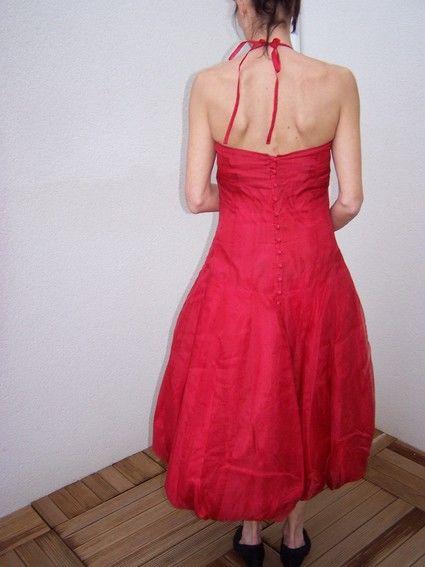 Robe de Mariée bustier rouge Julien Thomas en organza d'occasion
