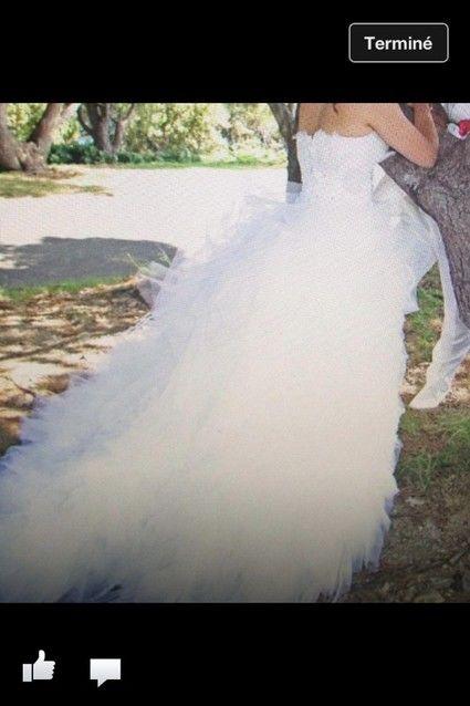 Robe de mariée en plumes d'oie et cristaux Swarovski Hervé Mariage