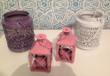 Photophores de différentes couleurs rose, blanc et violet - Occasion du Mariage