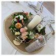 Centre de table en toile de jute et dentelle - Occasion du Mariage