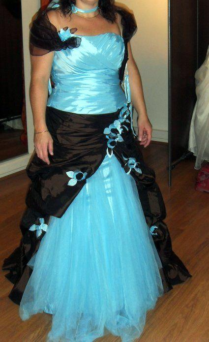 Robe de mariée turquoise et chocolat modèle Miss France 2011 d'occasion