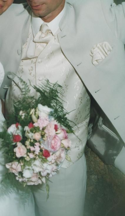 Costume de marié complet ivoire taille S d'occasion col mao