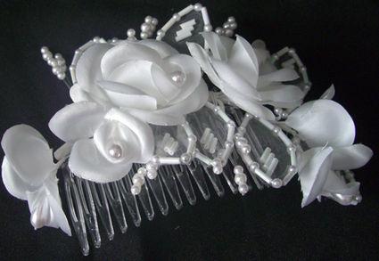 Bijoux peigne fleurs et perles de mariée pas cher - Occasion du mariage