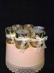 Lot de 6 photophores dorés noeuds dentelle et coeur - Occasion du Mariage
