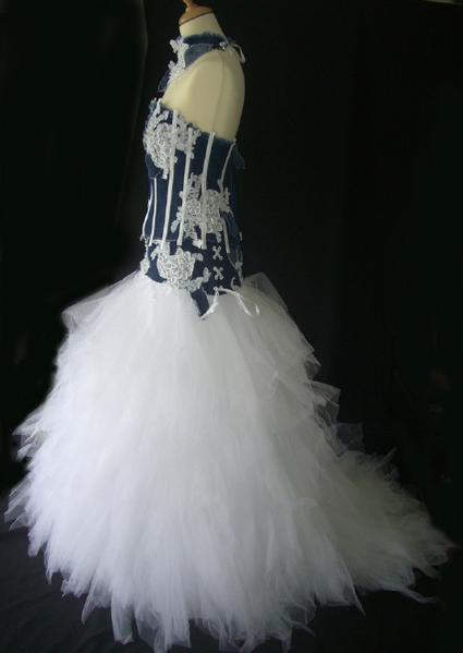 Robe de mariée pas cher et jupe en foulards de tulles - Occasion du mariage