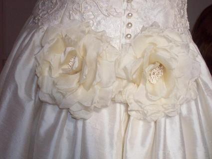 Robe de mariée soie sauvage et dentelle de Calais d'occasion