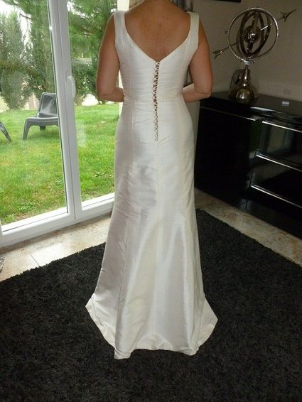 Robe de mariée d'occasion en chintz de soie champagne