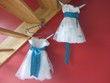 Robe cérémonie fille blanche et turquoise - Occasion du Mariage