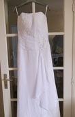 Robe de mariée bustier en mousseline blanche - Occasion du Mariage