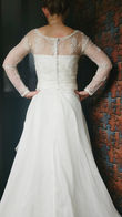 Robe de mariée bustier, dentelle et traine - Occasion du Mariage