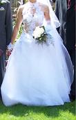 Robe de mariée Max Chaoul d'occasion avec très long voile T38