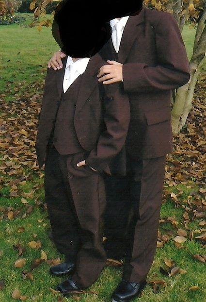 Costume garçon de mariage marron ivoire taille 10/12 ans