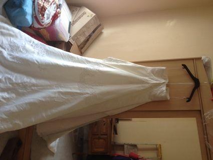 Robe de mariée, forme crinoline écru de l'Empire du mariage - Occasion du Mariage