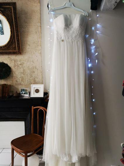 robe neuve - coupe droite - tulle plissé - T38 - Gironde