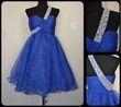 Robe bleue mi longue bretelle - Occasion du Mariage