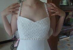 Robe de mariage d'occasion avec bustier finement perlé