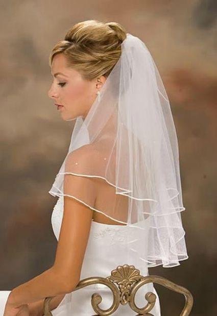 Voile Mariée Blanc Perlé Perles Bord Satiné Satin - Oise