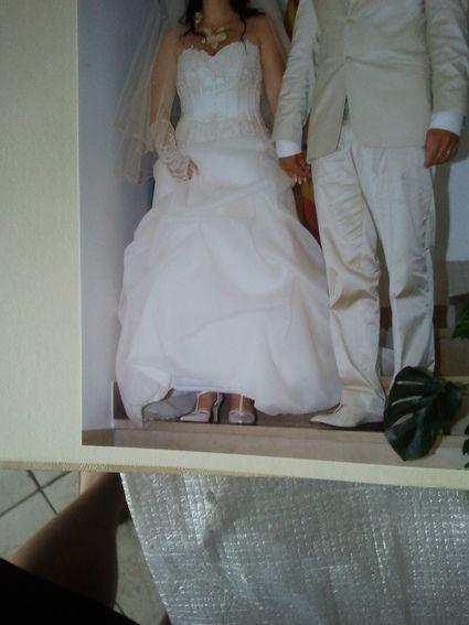Robe de mariée champagne et accessoires d'occasion taille 40/42
