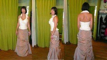 Robe de Mariée avec jupe marron clair et le haut beige d'occasion