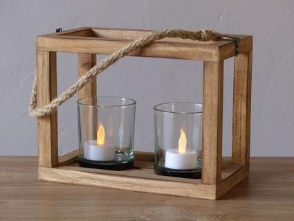 Lot de 3 suspensions en bois avec photophores - Essonne
