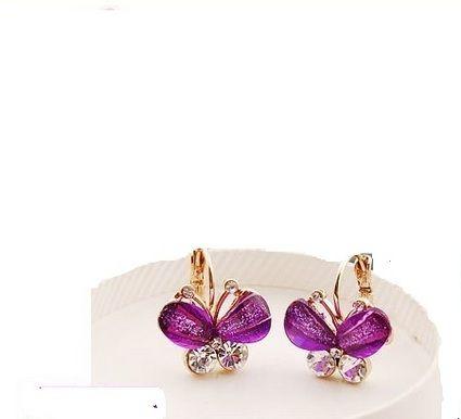 Bijoux de mariage pas cher / boucles d'oreilles papillon violet Picardie - Occasion du mariage